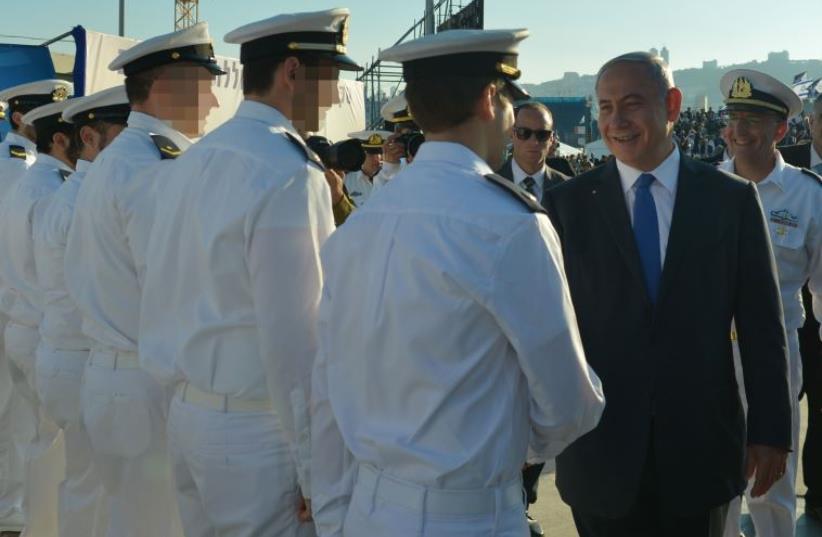 Netanyahu at the INS Rahav submarine arrival ceremony (photo credit: KOBI GIDEON/GPO)