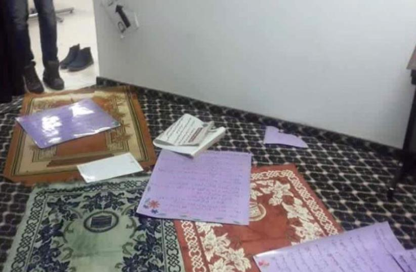 The Muslim prayer room defaced at Jerusalem's Hadassah Academic College. (photo credit: FACEBOOK)