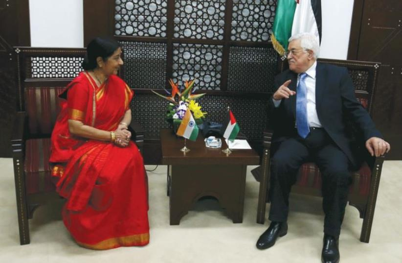 INDIAN MINISTER of External Affairs Sushma Swaraj meets with PA President Mahmoud Abbas in Ramallah (photo credit: REUTERS)