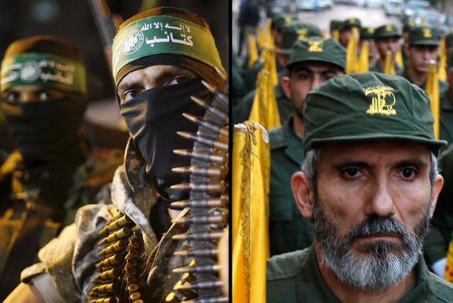 Hamas and Hezbollah fighters (photo credit: REUTERS)
