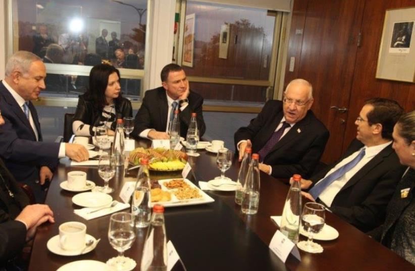 Prime Minister Benjamin Netanyahu, Knesset Speaker Yuli Edelstein, President Reuven Rivlin, Head of the Opposition Isaac Herzog and Tzipi Livni attend the Knessett Open House (photo credit: KNESSET SPOKESMAN'S OFFICE)