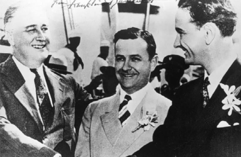 exas Gov. Allred (center) with President Franklin D. Roosevelt  and Representative Lyndon B. Johnson in Galveston, Texas, on May 12, 1937. (photo credit: Wikimedia Commons)