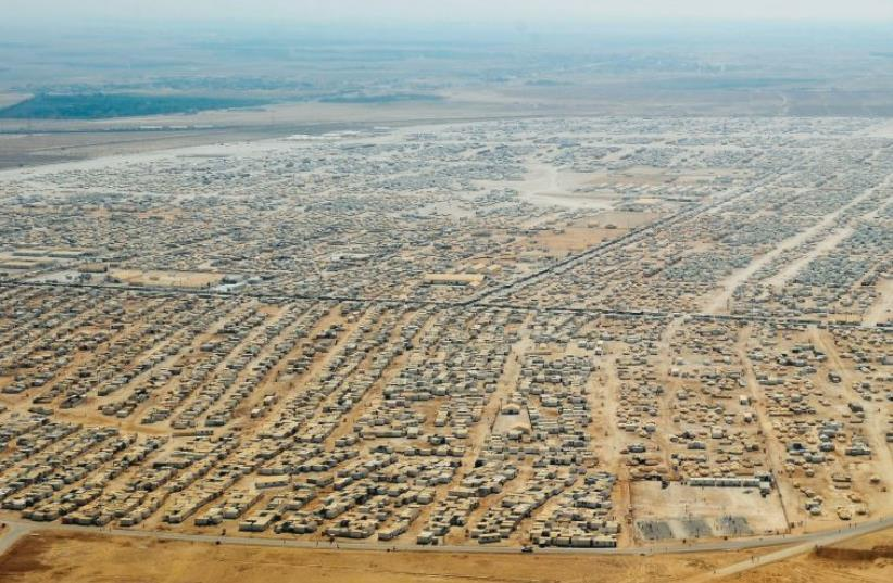 An aerial view shows the sprawling Zaatari refugee camp in Jordan in July 2013 (photo credit: REUTERS)