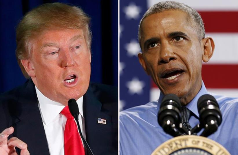 Obama and Trump (photo credit: REUTERS)