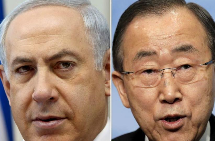 Prime Minister Benjamin Netanyahu (L) and UN Secretary-General Ban Ki-moon (photo credit: REUTERS)