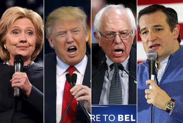 Clinton, Trump, Sanders and Cruz (photo credit: REUTERS)