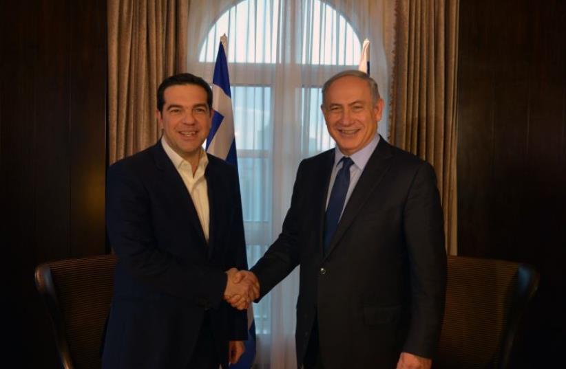 Prime Minister Benjamin Netanyahu and his Greek counterpart Alexis Tsipras (photo credit: GPO)