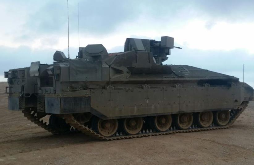 Rafael-produced Namer armored personnel carrier with Trophy anti-missile system (photo credit: DEFENSE MINISTRY/MERKAVA TANK ADMINISTRATION)