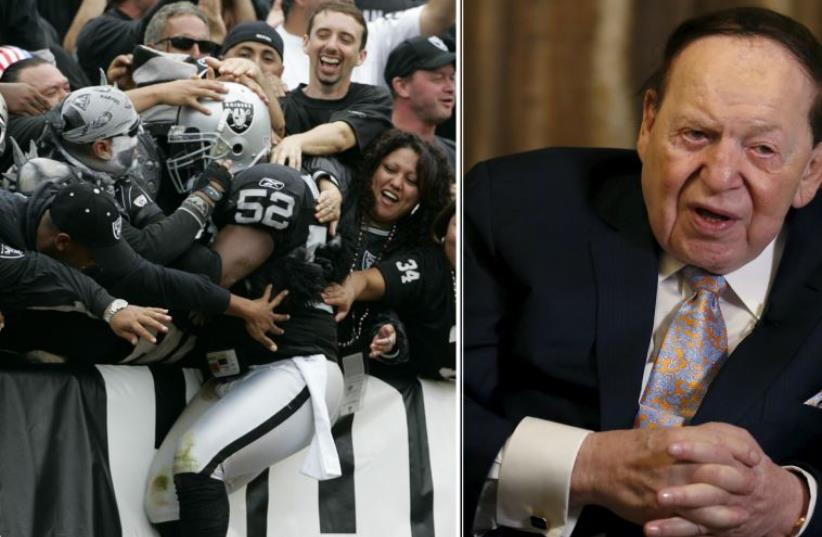 Sheldon Adelson (R) is reportedly involved in efforts to lure the Oakland Raiders to Las Vegas (photo credit: REUTERS)