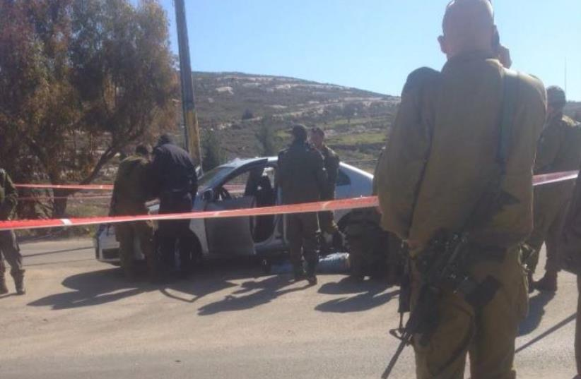 Scene of shooting attack near Beit El (photo credit: BEIT EL SECURITY/RAFI ALUSH)