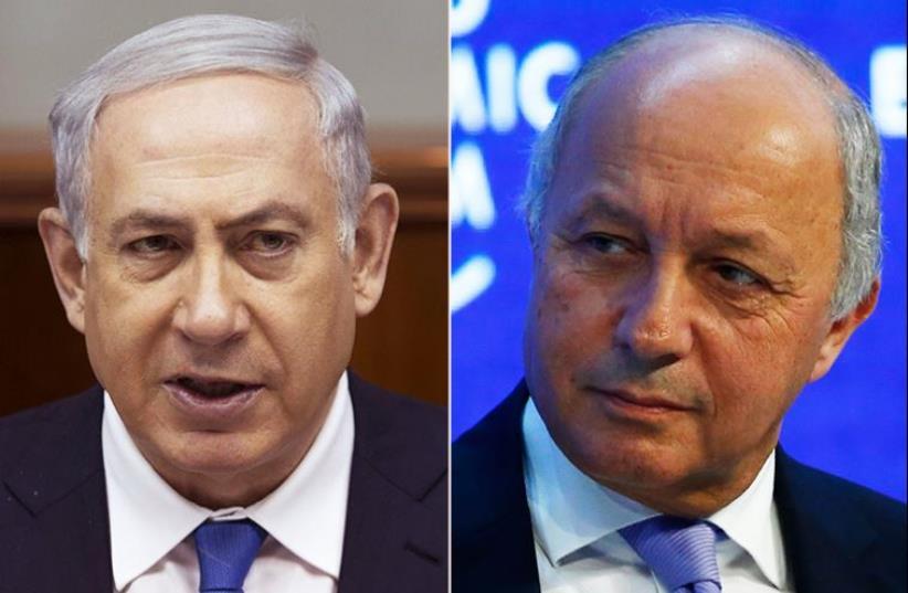 Netanyahu and Fabius (photo credit: REUTERS)