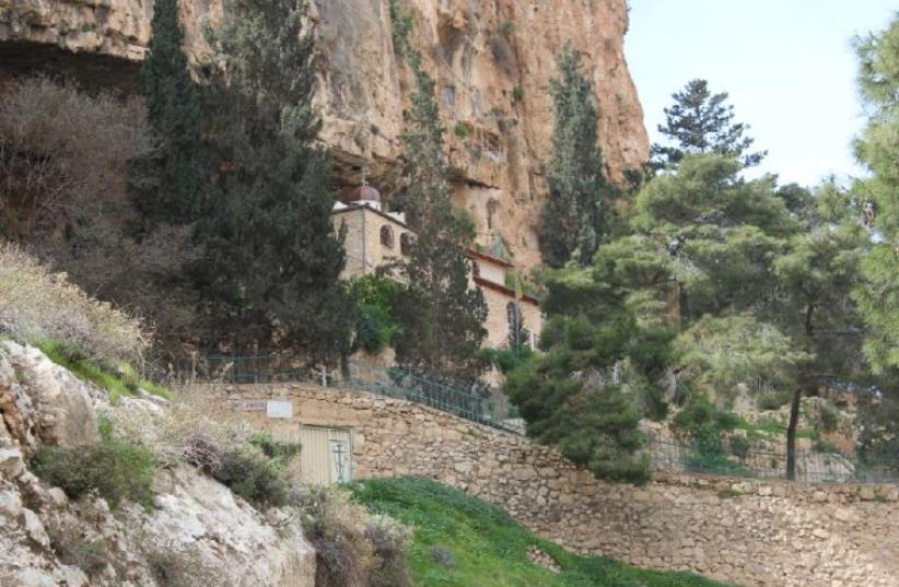 The first monastery built in the Holy Land at the Prat Stream in the Judean Desert (photo credit: BENJAMIN GLATT)