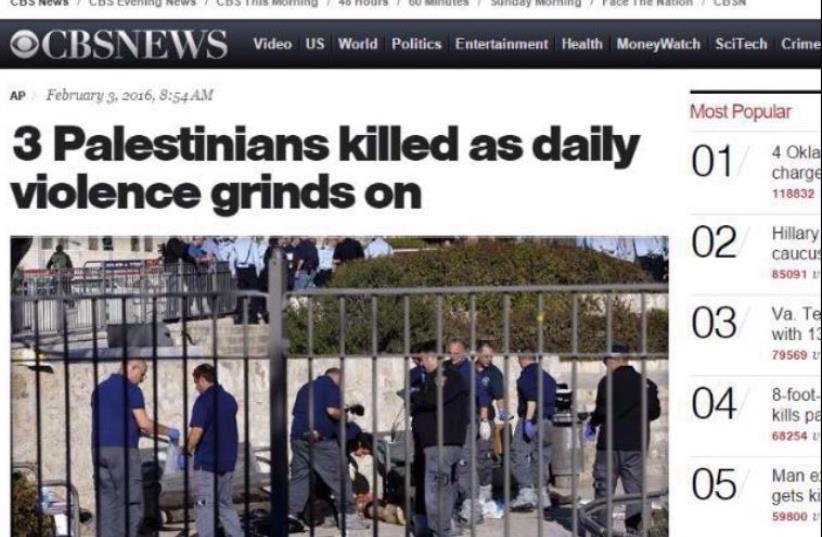 CBS headline after Jerusalem terror attack, February 3, 2016 (photo credit: screenshot)