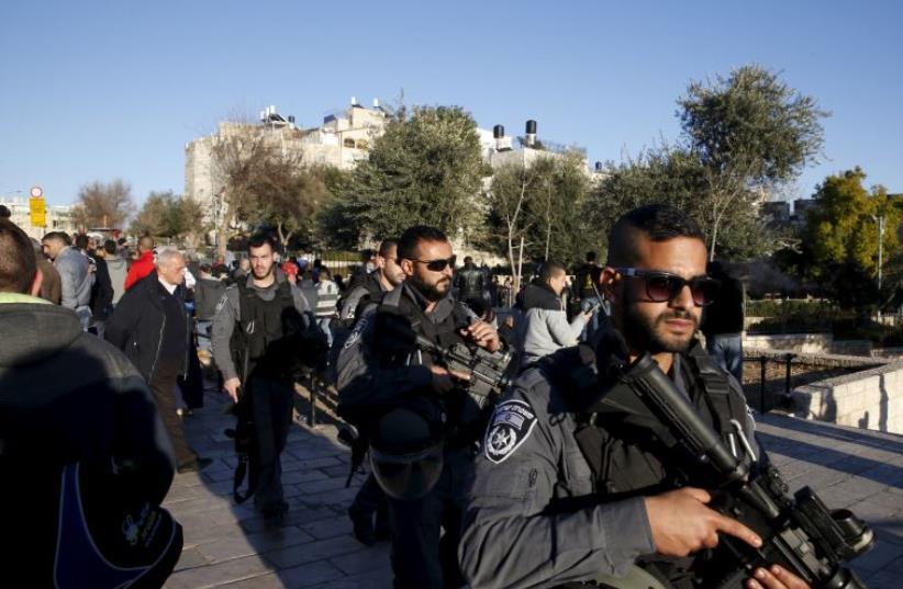 Scene of terror attack in Jerusalem's Damascus Gate (photo credit: REUTERS)