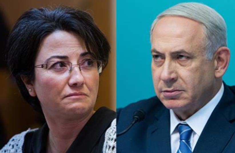 MK Haneen Zoabi and PM Benjamin Netanyahu (photo credit: screenshot)