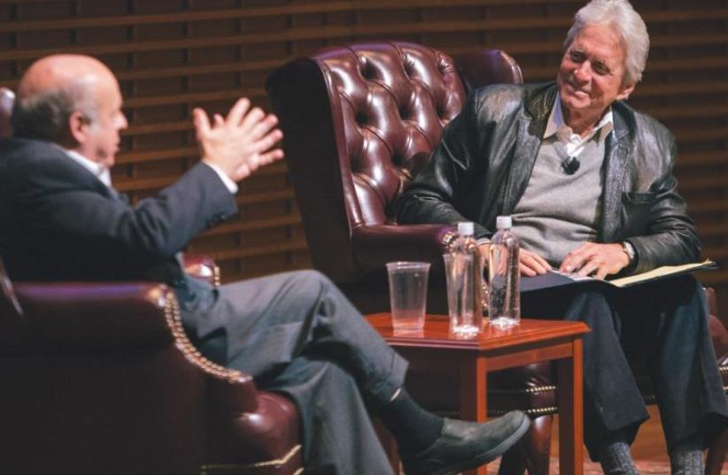 JEWISH AGENCY for Israel chairman Natan Sharansky (L) and Michael Douglas, renowned actor and producer (photo credit: ROBERT REEVES)
