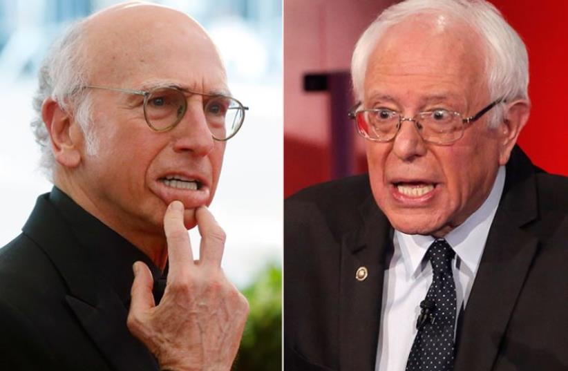 Bernie Sanders and Larry David (photo credit: REUTERS)
