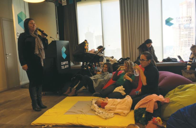 ENTREPRENEUR HILLA BRENNER speaks at Campus for Moms, an initiative at Tel Aviv's Google office to help new moms launch postpartum start-ups (photo credit: NIV ELIS)