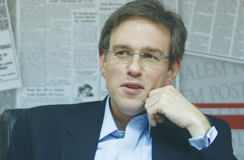 'WALL STREET JOURNAL' editor and former 'Jerusalem Post' editor-in-chief Bret Stephens addresses the 'Post' editorial staff (photo credit: MARC ISRAEL SELLEM)