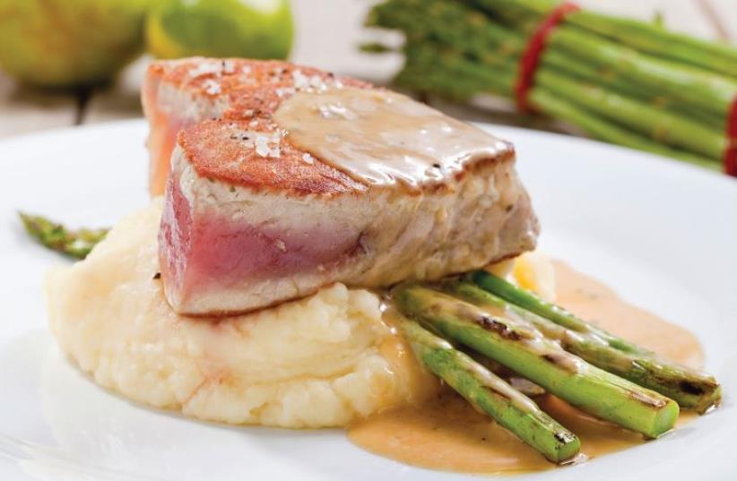 Fillet of tuna with mustard sauce (photo credit: BOAZ LAVI)
