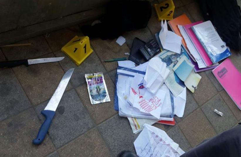 Scene of terror attack in Ramle (photo credit: POLICE SPOKESPERSON'S UNIT)