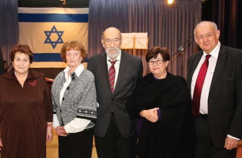 AT THE commemoration ceremony are, from left, Aachen Mayor Marcel Philipp, survivors Evelina Merowa (who lives in Prague), Dita Kraus (who lives in Netanya) and Hans Gaertner (Prague), Rachel Masel (Fredy Hirsch's niece, who lives in Kiryat Ono) and Aachen Jewish Community chairman Dr. Robert Neugrö (photo credit: COURTESY CITY OF AACHEN)