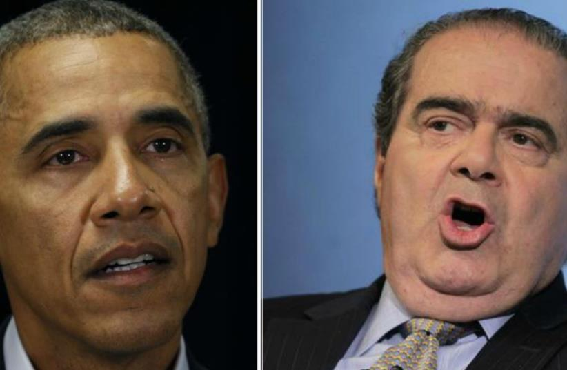 US President Barack Obama and the late US Supreme Court Justice Antonin Scalia. (photo credit: REUTERS)