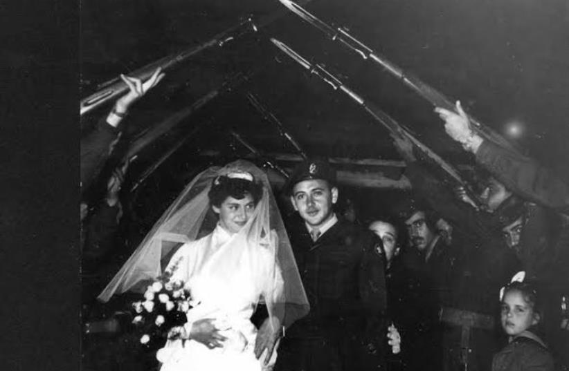 A military wedding in Israel, January 1957 (Photo Y. Mirlin) (photo credit: COURTESY CENTRAL ZIONIST ARCHIVE)