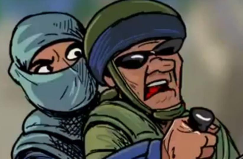 Palestinian terrorist depicted stabbing an IDF soldier in cartoon (photo credit: FACEBOOK)