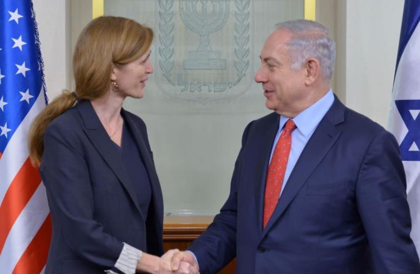 Netanyahu and US Ambassador to the UN Samantha Power  (photo credit: KOBI GIDEON/GPO)