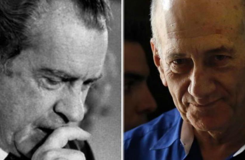 Former prime minister Ehud Olmert and former US president Richard Nixon. (photo credit: REUTERS)