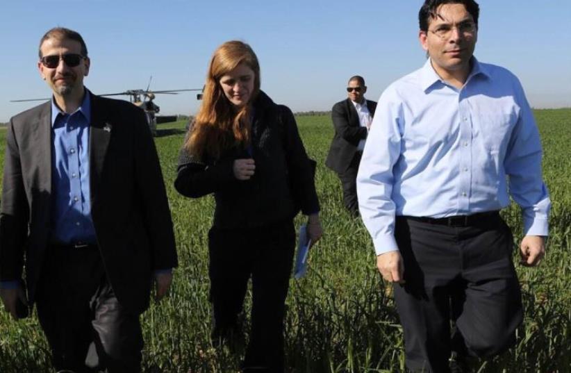 US Ambassador to Israel Daniel Shapiro, American Ambassador to the United Nations Samantha Power and Israel's Ambassador to the UN Danny Danon (photo credit: AVI DODI)
