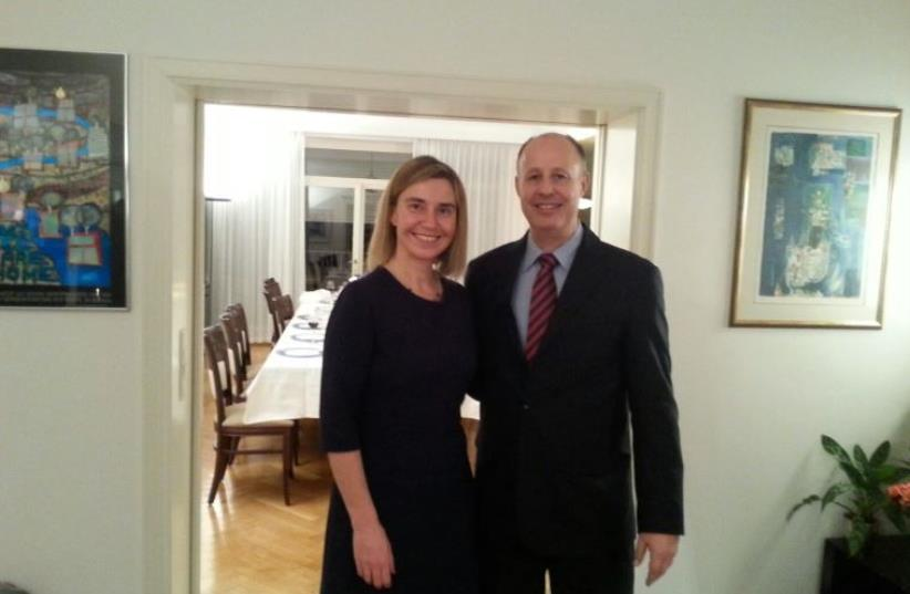 Likud MK Tzachi Hanegbi and EU foreign policy chief Federica Mogherini  (photo credit: KNESSET SPOKESMAN'S OFFICE)