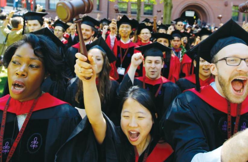 COMMENCEMENT EXERCISES at Harvard University in Cambridge, Massachusetts. (photo credit: REUTERS)