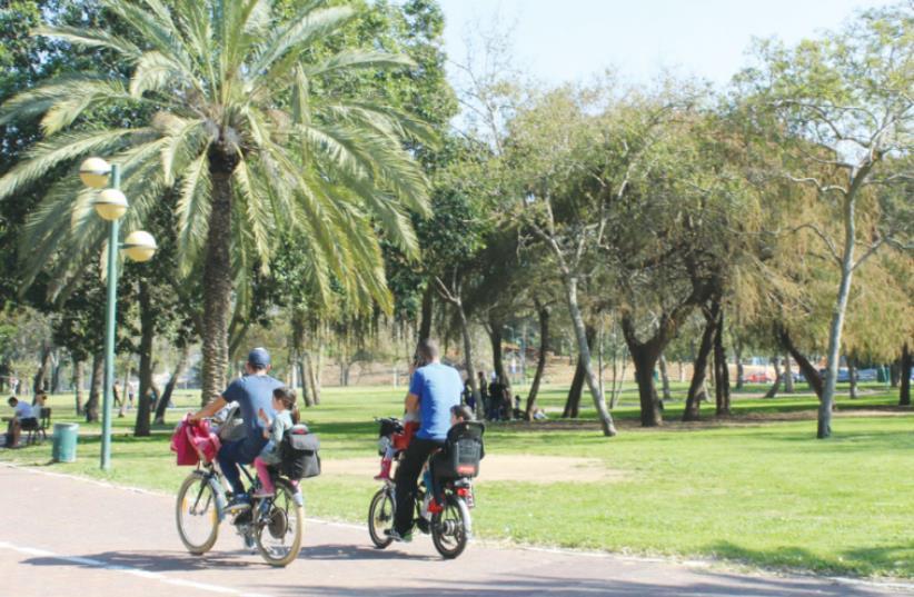 PEOPLE CYCLE through Yarkon Park in Tel Aviv over the weekend. (photo credit: MICHELLE MALKA GROSSMAN)