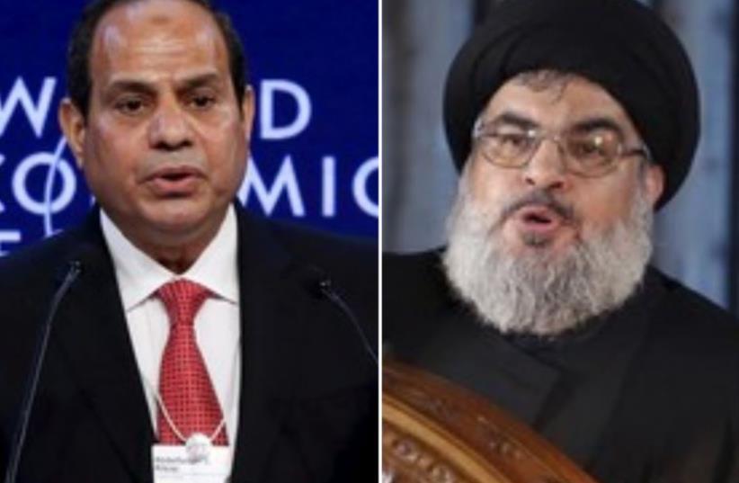 Egyptian President Abdel Fattah al-Sisi (R) and Hezbollah leader Hassan Nasrallah (photo credit: REUTERS)
