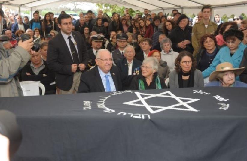 Funeral for Treblinka Revolt survivor Samuel Willenberg in Udim, February 22, 2016 (photo credit: AVSHALOM SASSONI)