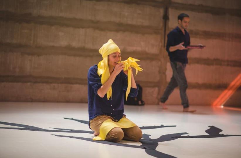 LOCAL CHOREOGRAPHERS/DANCERS Moran Yizhaky Abergel (center) and Kim Taitelbaum perform their latest work, 'Astarte.' (photo credit: YAIR MUCHAS)