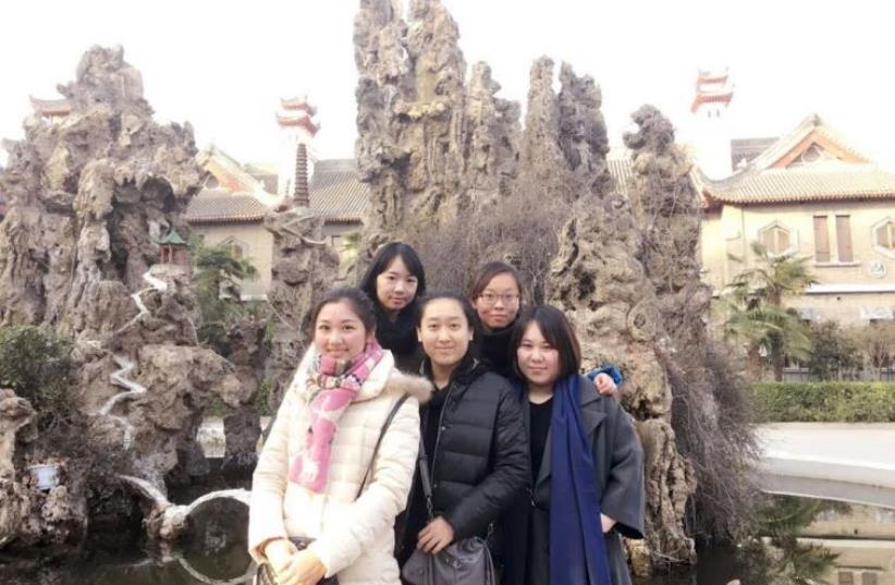 """Gao Yichen (""""Weiwei""""), Yue Ting, Li Jing, Li Yuan, and Li Chengjin (""""Lulu"""").  (photo credit: COURTESY OF SHAVEI ISRAEL)"""
