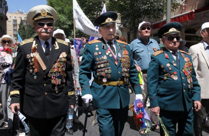 Soviet World War Two veterans march in Israel (photo credit: MARC ISRAEL SELLEM)