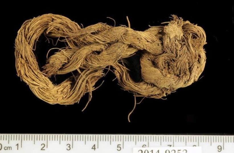 SAMPLES FABRICS discovered by archaeologists in the ancient Timna mines.  (photo credit: TEL AVIV UNIVERSITY)