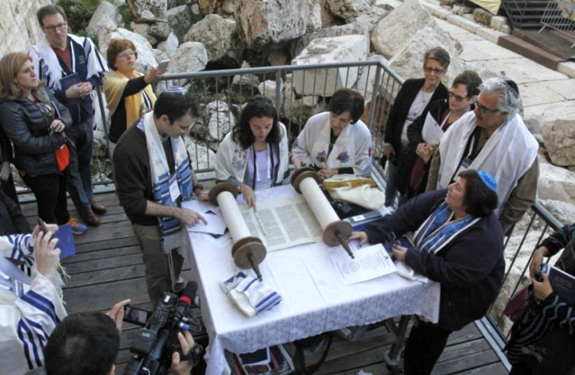 Reform Movement prayer service at the Western Wall  (photo credit: Y.R)