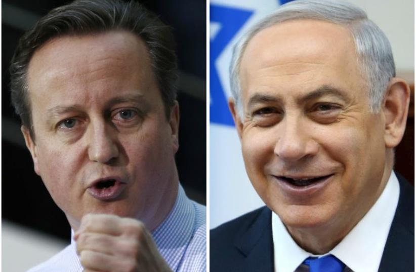 Prime Minister Benjamin Netanyahu (R) and British Prime Minister David Cameron (photo credit: REUTERS)