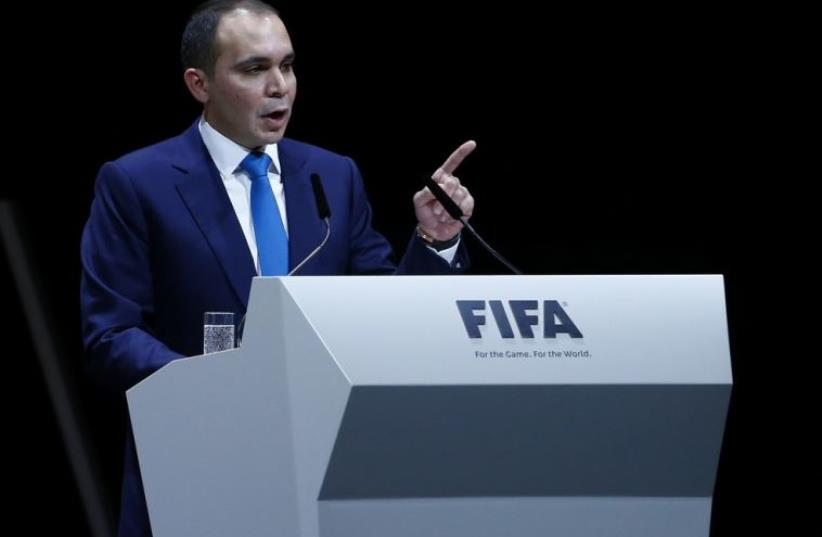 Prince Ali Bin Al Hussein, whose candidacy for FIFA president fell short, makes a speech (photo credit: REUTERS)