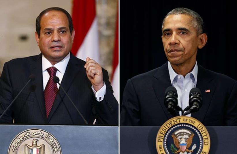 Obama and Sisi (photo credit: REUTERS)