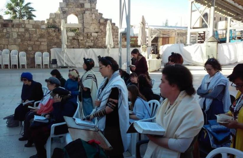 Members of the Original Women of the Wall organization at the Western Wall, February 29, 2016 (photo credit: OWOW)