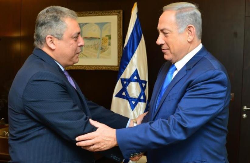 Prime Minister Benjamin Netanyahu meets with new Egyptian Ambassador Hazem Khairat in Jerusalem, February 29, 2016 (photo credit: KOBI GIDEON/GPO)