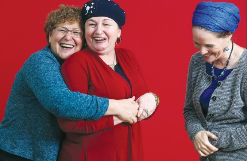 From left: Miriam Peretz, Sara Rosenfeld and Rachelle Fraenkel (photo credit: ARIEL BESOR)