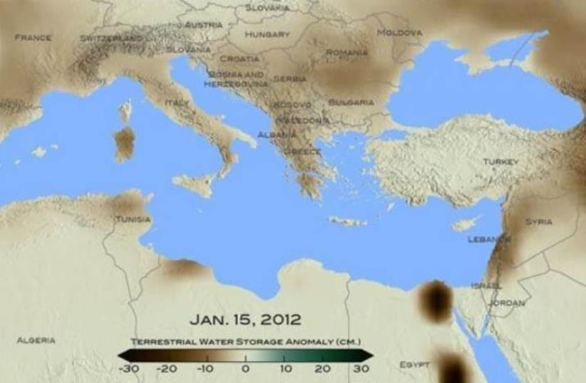 For January 2012, brown shades show the decrease in water storage from the 2002-2015 average in the Mediterranean region. Units in centimeters. (photo credit: COURTESY NASA/ GODDARD SCIENTIFIC VISUALIZATION STUDIO)