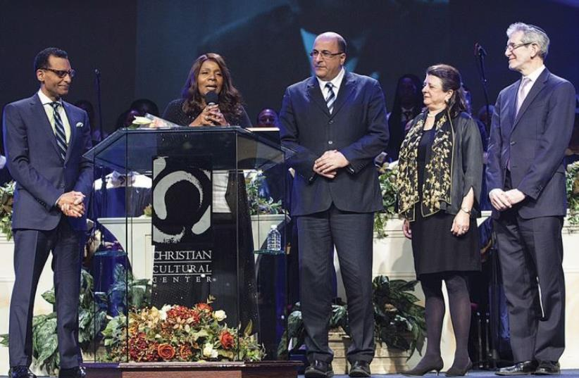 FROM LEFT: Rev. A. R. Bernard of the Christian Cultural Center; Grammy Award winner Gloria Gaynor; Consul-General of Israel in New York Ido Aharoni; Jewish National Fund executive vice president, Greater New York, Maidelle Goodman Benamy; JCRC executive vice president and CEO Rabbi Michael Miller. (photo credit: Courtesy)